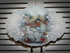 Decoupage On Canvas, Decoupage Plates, Decoupage Vintage, Shabby Chic Signs, Canvas Frame, Painting On Wood, Art Projects, Diy And Crafts, Creations
