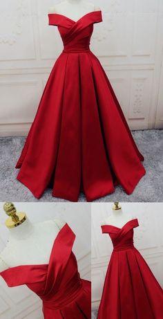 Evening Dresses A-line/Princess Prom Dresses Long Party Dresses Off-the-shoulder red Long satin party dress