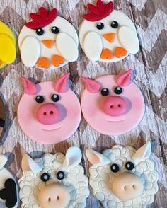 12 Fondant barnyard animal cupcake toppers
