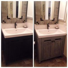 bathroom vanity before and after using gray limoge farmhouse paint - Painted Bathroom Cabinets Before And After