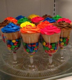 Wine glass cupcake holder filled with m&m's