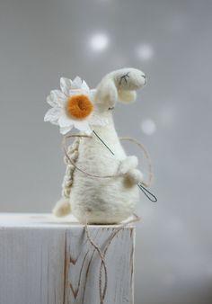 Needle Felt Sheep Dreamy White Sheep With A by FeltArtByMariana