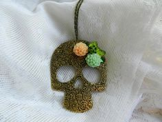 Large Day of the Dead Necklace with Sugar Skull by AbbiesAnchor, $15.00