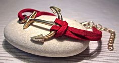 RoseGold anchor bracelet red suede leather jewelry from Geralin Gioielli by DaWanda.com