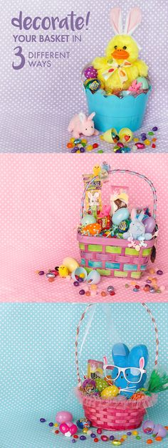Materials Needed: Easter basket, pastel fillable Easter eggs, assortment of candy, plush toys, beaded bracelets and glasses. Directions: Once you pick an Easter basket, cover the bottom with plastic grass. Then, select a plush toy for the focal point of the basket. Pick out an assortment of candy, plastic fillable eggs, bead.