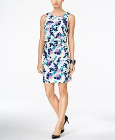 Ivanka Trump Floral-Print Popover Sheath Dress | macys.com