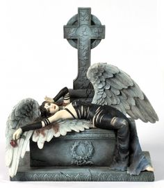 Disowned  £69.99  Nemesis Now Figurine - Disowned, a beautiful fallen angel, lying across a tomb with a Celtic style cross rising above it. Disowned is wearing a slashed black dress, and is holding a red rose in her right hand. Approx size: 24cm