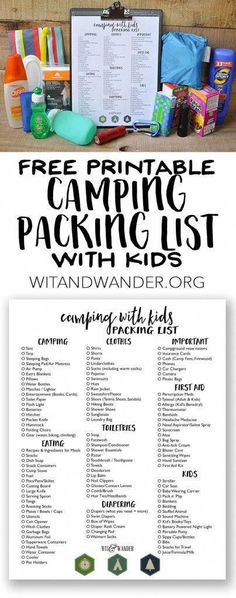 Packing List for Camping with Kids - Wit & Wander #rvpackinglist #campingessentialslist