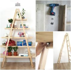 Cool Ladder Shelves - 22 Genius DIY Home Decor Projects You Will Fall in Love with!!