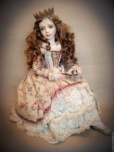 Купить Старые сказки. Резерв. - золотой, Будуарная кукла, антикварный стиль, корона для принцессы