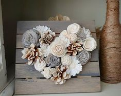 Neutral Wood Flower Mini Heart Board Sola Wood Flowers Farmhouse Style Housewarming Gift Wedding Decor Nursery Decor Rustic Home Decor Dekoration Schule Rustic Nursery Decor, Rustic Decor, Rustic Crafts, Wood Nursery, Nursery Rugs, Pallet Crafts, Nursery Ideas, Home Crafts, Diy And Crafts