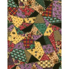 PrintedQuilt Pattern Craft Fabric in Yellow, Red, Lavender, Green & Black Listing in the Other,Yardage,Fabrics,Crafts, Handmade & Sewing Category on eBid United States | 147697992