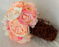 Pink Peony Rose and White Orchid Burlap Garden Rustic
