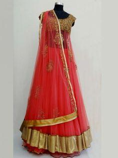 Buy corel Red Golden shiffon anarkali lehenga a perfect indian bridal saree designed by sengar only at iThinkFashion