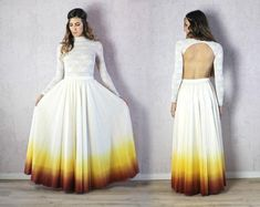 Ombre Wedding Dress, Boho Chic Wedding Dress, Long Sleeve Wedding, Elegant Wedding Dress, Boho Wedding Dress, Unusual Wedding Dresses, Colored Wedding Dresses, Lace Bodysuit Long Sleeve, Wedding Body