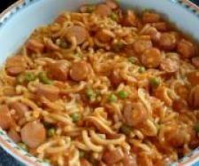 Rezept Würstchengulasch mit Gabelspaghetti - Rezept aus der Kategorie Hauptgerichte mit Fleisch