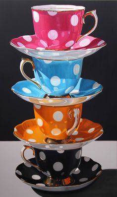 Spot On Photorealistic Oil Painting Daryl Gortner Coffee Cups, Tea Cups, Coffee Latte, Cup Art, Teapots And Cups, Photorealism, Arabesque, Tea Set, Cup And Saucer