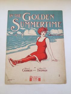 "Edwardian Original Vintage Bathing suit swimsuit 1920s style Ocean Beach ""In the Golden Summertime"" graphics! 1915 sheet music decor by BeatspringMusic on Etsy https://www.etsy.com/listing/238140617/edwardian-original-vintage-bathing-suit"