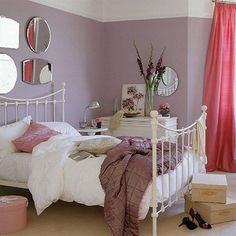 White Bed Frame Furniture Purple Walls Perfect One Bedroom