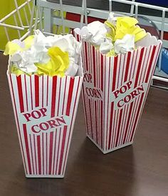 Popcorn Writing Center Activity: Students pick a yellow piece of popcorn (character) and a white piece of popcorn (setting) and write a short story. Containers can sometimes be found for $1 at Target's dollar section