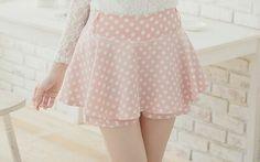 Baby pink polka dot skirt