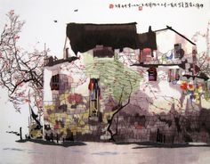 """Suzhou in Spring Watercolored #Beautiful #Handmade #Silk #Embroidery #Art #Etsy 87206 http://www.queensilkart.com/100-handmade-embroidery-framed-landscape-watercolored-suzhou-village-in-spring-4050-6-87206/ Ancient houses in Suzhou's """"Old Town"""" district are quite singular. Whitewashed walls, grey tile roofs, brown timbers & a small pier. The canals are the streets, boats are the cars & the piers serve as kitchen annex, laundry & shopping center, vendors travel from house to house every day."""