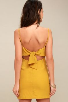 f5dad162fc5a Lulus | Toast to Life Mustard Yellow Mini Dress | Size X-Small | 100%  Polyester