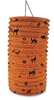 """Bethany Lowe Witchy Lantern The print on this tall paper lantern is fun, """"There was an old witch..."""" Size: 11"""" x 6"""". Light not included."""