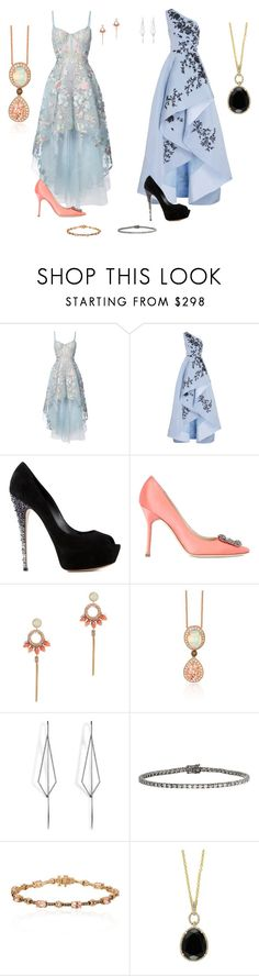 """""""Special occasion 🥂"""" by mrsagosto ❤ liked on Polyvore featuring Notte by Marchesa, Monique Lhuillier, Casadei, Manolo Blahnik, Deepa Gurnani, LE VIAN, Diane Kordas, Eva Fehren and Effy Jewelry"""