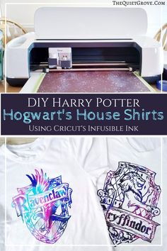 Learn how to make your own magical Harry Potter Hogwart's House Shirts Using a Cricut, Cricut's Infusible Ink sheets, an Easypress 2 with DIY tutorial. Hogwarts Crest, Hogwarts Houses, Harry Potter Diy, Harry Potter Hogwarts, Kids Pop, Potters House, Kid Ink, Diy Shirt, Vinyl Projects