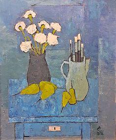 Ciucurencu Alexandru (1903-1977) Natură statică în albastru / Still life in blue Post Impressionism, Impressionist, Frasier Crane, Value In Art, Socialist Realism, Still Life Art, Paintings For Sale, Vivid Colors, Oil On Canvas