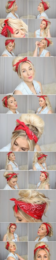 How To Use A Bandana For Your Hair hair long hair diy hair hairstyles bandana hair tutorials easy hairstyles Messy Hairstyles, Pretty Hairstyles, Camping Hairstyles, Summer Hairstyles, Latest Hairstyles, Creative Hairstyles, Trending Hairstyles, Elegant Hairstyles, New Hair