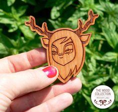 Laser cut wood brooch (Model: Deer). €12,00, via Etsy.