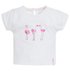 Girls' shirt Evy by Noppies. Made of 95% cotton and 5% elastane. The short-sleeved shirt is lightly patterned and has a flamingo print. The button on the back makes it easy to put on and take off this shirt. #noppies #babyfashion #girls #coolgirls #polkadots #ss15 #summer #spring #cutebaby www.noppies.com