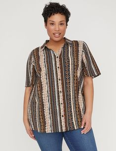 Shop for a Sunset Horizon Buttonfront Blouse at Catherines.com. Read  reviews and browse cf6a93ac8