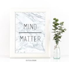 Printable Mind over Matter Wall Art - Great Motivational Print for the home, office or work space.  This digital file is ready for instant