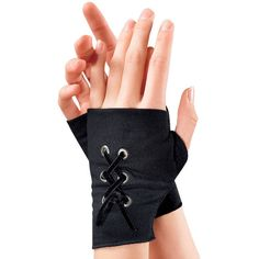 Lace Up Fingerless Gloves - New Age, Spiritual Gifts, Yoga, Wicca,... (€18) ❤ liked on Polyvore featuring accessories, gloves, other, black, jewelry, yoga gloves, goth fingerless gloves, lace up gloves, goth gloves and gothic fingerless gloves