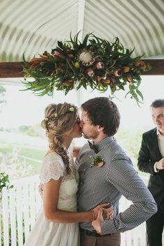 ceremony structure // photo by Shane Shepherd, flowers by Elyssium Blooms // http://ruffledblog.com/byron-bay-farm-wedding