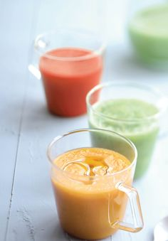 C'est l'été, c'est le moment de prendre des couleurs avec notre trio de gaspachos (melon, tomate, concombre).