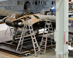 Restoration shop at NASM. Its the Horten ( Gotha) 229, 30 years ago in a dimly lit Metal storage shed at Garber Facility in Silver Hill. Looks like they are working on it finally!!
