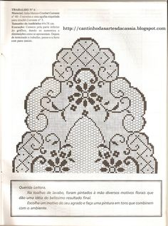 This Pin was discovered by Mic Crochet Tablecloth Pattern, Crochet Doily Patterns, Crochet Motif, Crochet Designs, Cross Stitch Fruit, Cross Stitch Fabric, Crochet Dollies, Filet Crochet Charts, Fillet Crochet