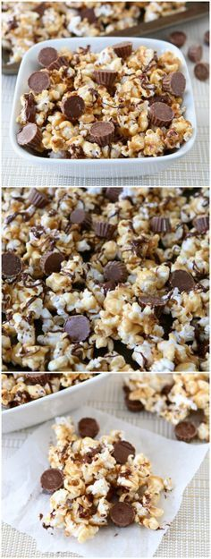 Reese's Peanut Butter Cup Popcorn Recipe on twopeasandtheirpod.com Love this sweet popcorn! A great treat for movie night, game day, or parties!