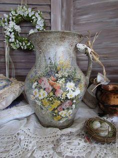 """Купить Старинный глечик """"Полевые цветы"""" - подарок, Декупаж, декор для интерьера, прованс, оригинальный подарок"""