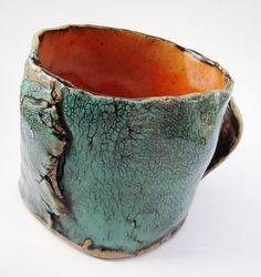 Crackly Turquoise and Orange Mug Hobbitware  Pottery Rustic Primitive Dwarven. $15.00, via Etsy.