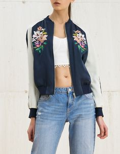 Embroidered satin bomber jacket. bers.hk/1192/848