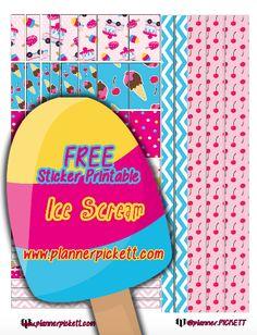 @planner.PICKETT: Free Ice Cream Printable Planner Stickers for EC Erin condren life planners, the happy planner, kikki k. planner, filofax and more