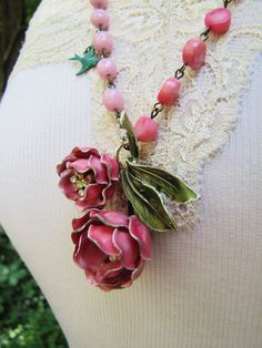 Salvage jewelry Necklace Cabbage Rose Vintage by RoseAndThatch, $80.00