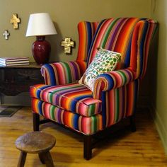 The wingback chair recovered in Guatemalan fabric♥ Interior Exterior, Interior Design, Accent Chairs Under 100, Mexican Home Decor, Living Room Chairs, Home Decor Items, Home Furniture, Upholstery, Mexican Style