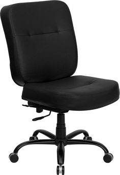 Flash Furniture Hercules Series 400 Lb. Capacity Big & Tall Black Leather Executive Swivel Office Chair With Extra Wide Seat