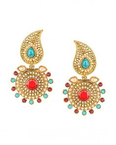 Golden Earrings with Multicolor Stones